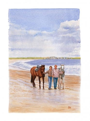 walking horse on the beach